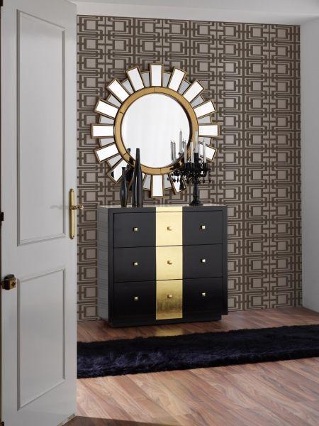 Recibidor negro y dorado | salon de belleza | Pinterest | Recibidor ...