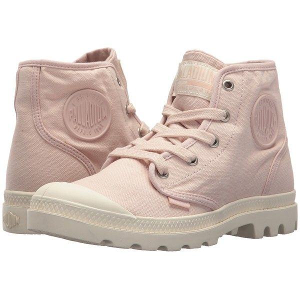 Palladium Pampa Hi (Peach Whip/Marshmallow) Women's Lace-up Boots ($70) ❤  liked on Polyvore featuring shoes, high top lace up shoes, rubber shoes, …