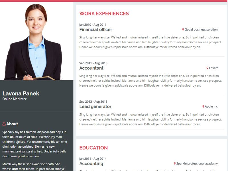 Introduction personal resume website template personal