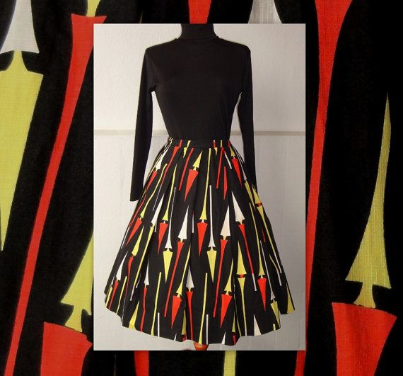 Rare 50s Atomic Print Skirt // Bright Colors // by Zappasvintage