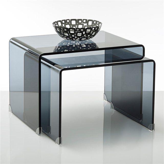 table basse verre tremp fum joan lot de 2 la redoute interieurs prix avis notation. Black Bedroom Furniture Sets. Home Design Ideas
