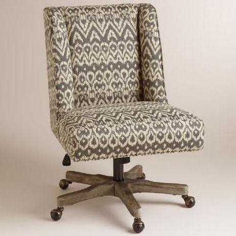 world market driftwood ikat ava upholstered office chair world