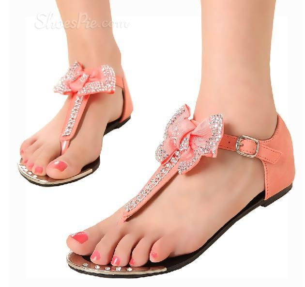 Sweet Pink Flat Heels Girls Sandals With Bow Shoes And