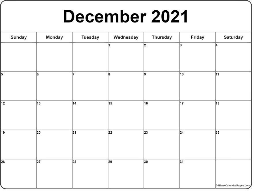 Free Monthly Calendar December 2021 in 2021 | Monthly calendar