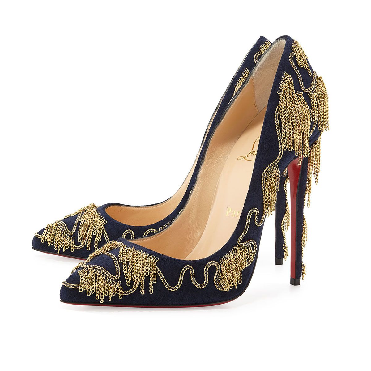 Christian Louboutin Dolly Party Chain-Detail Red Sole Pump, Nuit/Gold