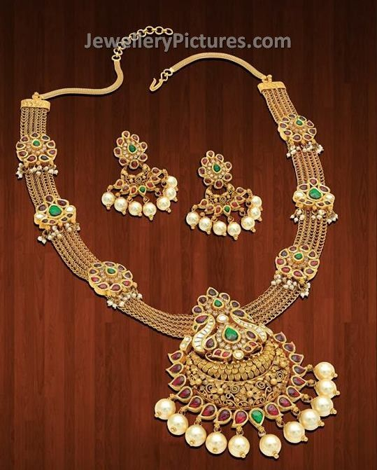 indian gold jewellery designs haram and earrings jewelery