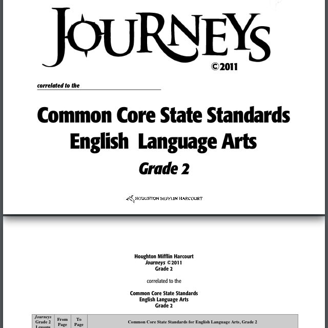 2nd Grade Common Core Standards To Follow Journey S Reading