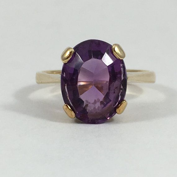 Amethyst Solitaire Ring Yellow Gold Unique Engagement Ring