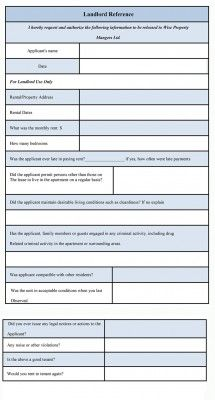 Landlord Reference Form is a document used by landlord to find out ...