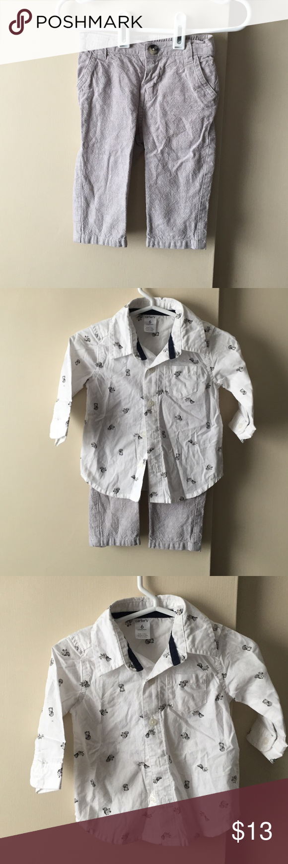 Baby button down shirt and pants Top: button down long sleeve shirt with squirrels. Carters size 6 months Bottom: gray pants koala baby size 6 months. Never worn! Matching Sets