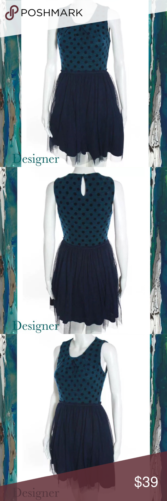 """DESIGNER Chic Navy/Teal PolkaDot Fit-N-Flare Dress SIZE XS. 35"""" Length. 24"""" Waist. 28"""" Bust. Sleeveless. Bold Teal Color Fitted Top w Navy Blue Polka Dots. Keyhole Back, Button Closure. Navy Blue Flare Skirt w Sheer Mesh Overlay. EUC Designer Dresses Midi"""