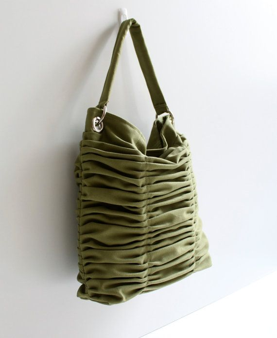 Poetry in Olive Green / Pleated Bag / Shoulder Bag / by bayanhippo