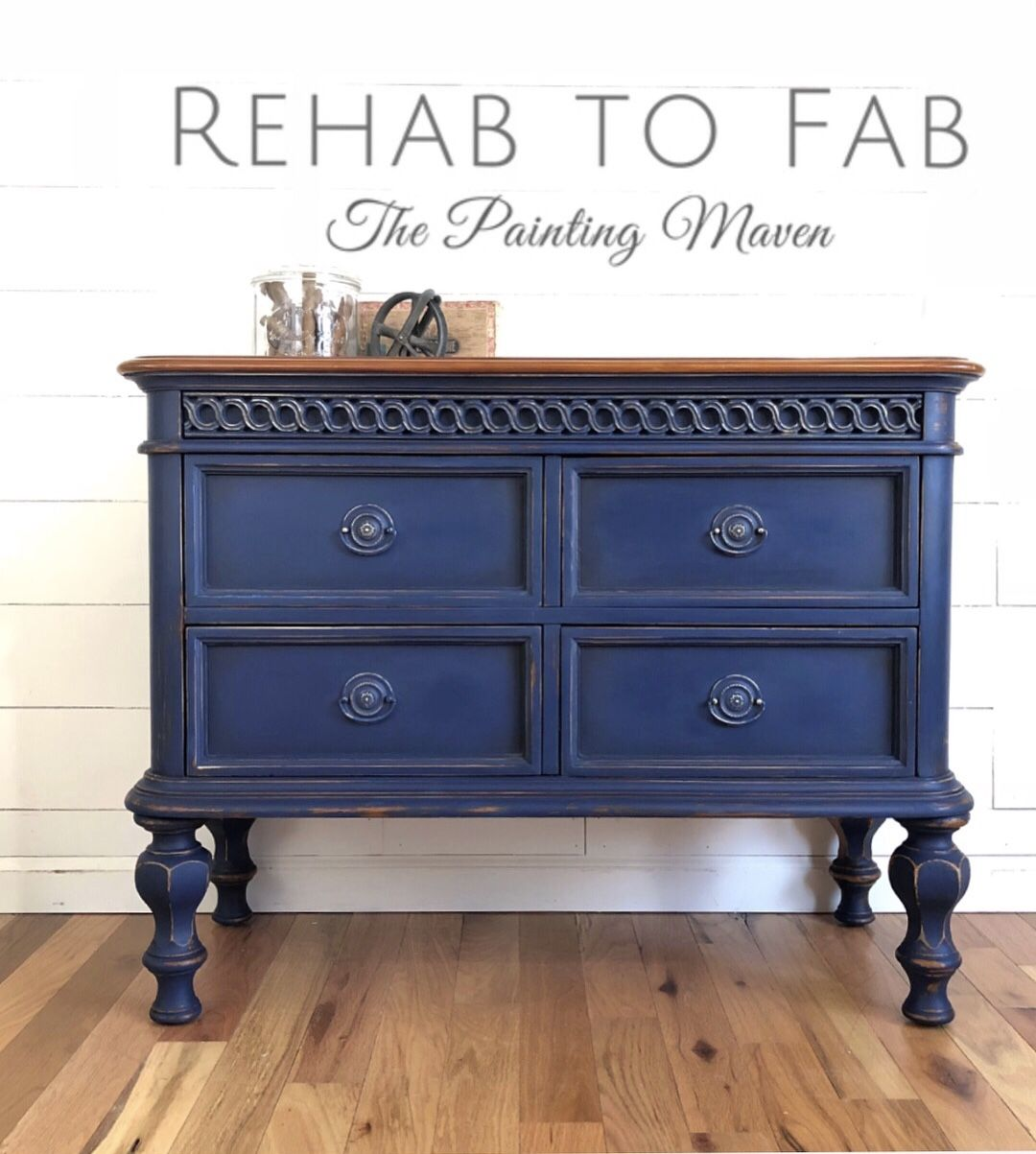 Painted By Rehab To Fab. Dixie Belle Bunker Hill Blue With Clear And Black  Wax