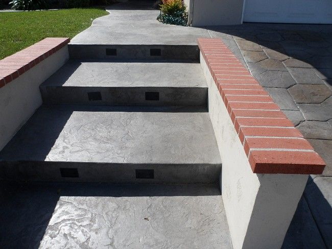 Concrete Wall With Brick Cap Google Search Outdoor Steps Concrete Wall Brick