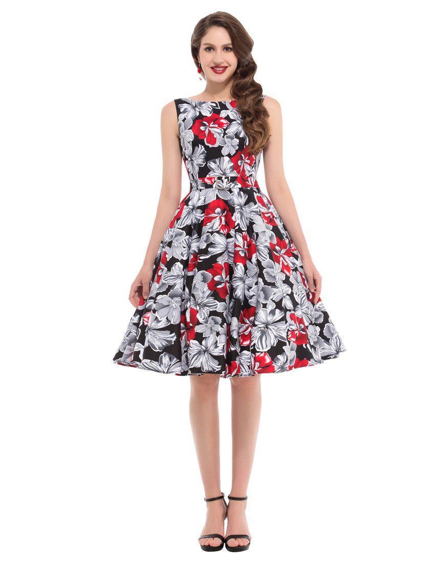 c03a26fdf13e5 Women Summer floral Print Casual Vintage Plaid Dresses | Style ...