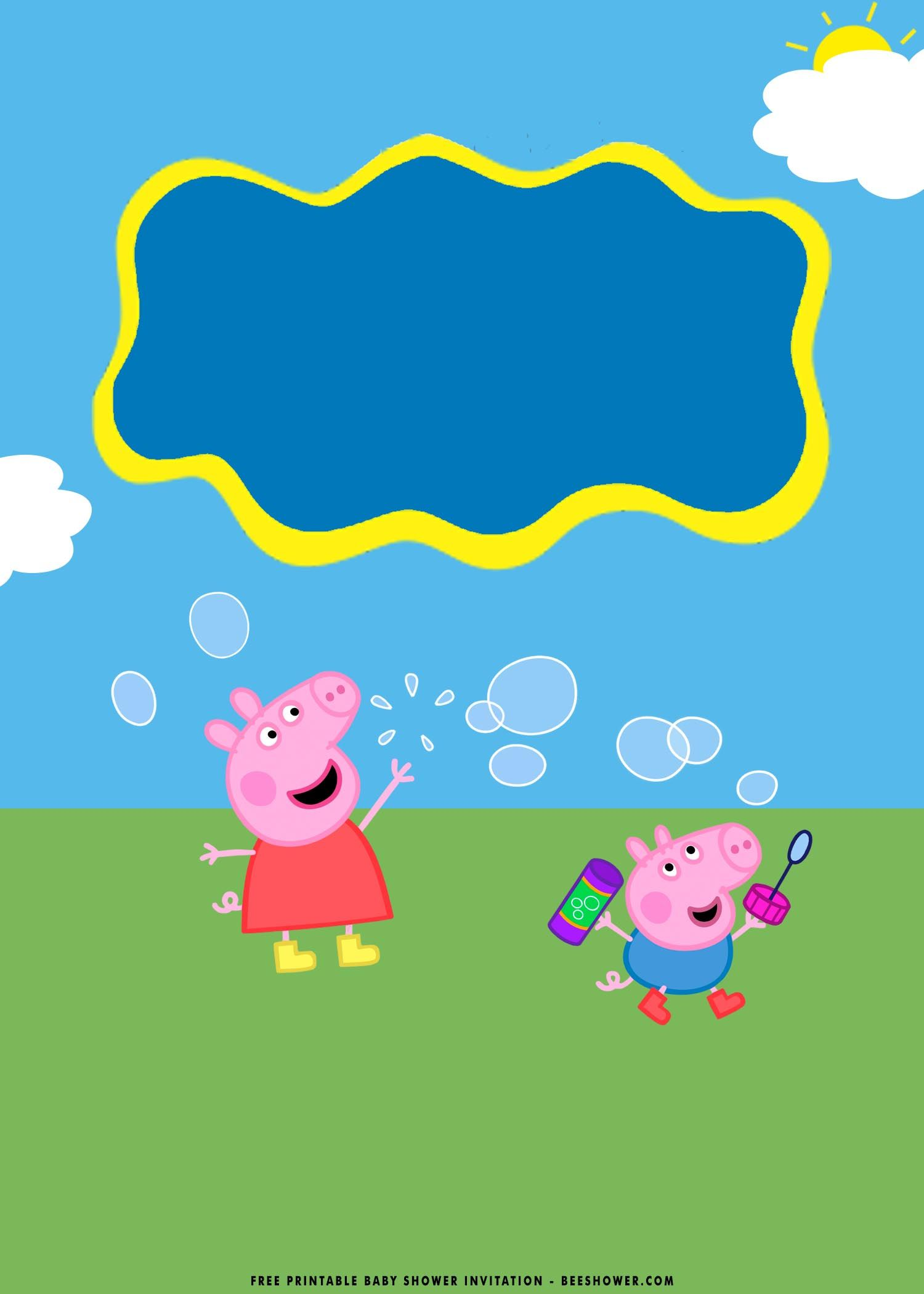 Free Printable Peppa Pig Baby Shower Invitation Templates En
