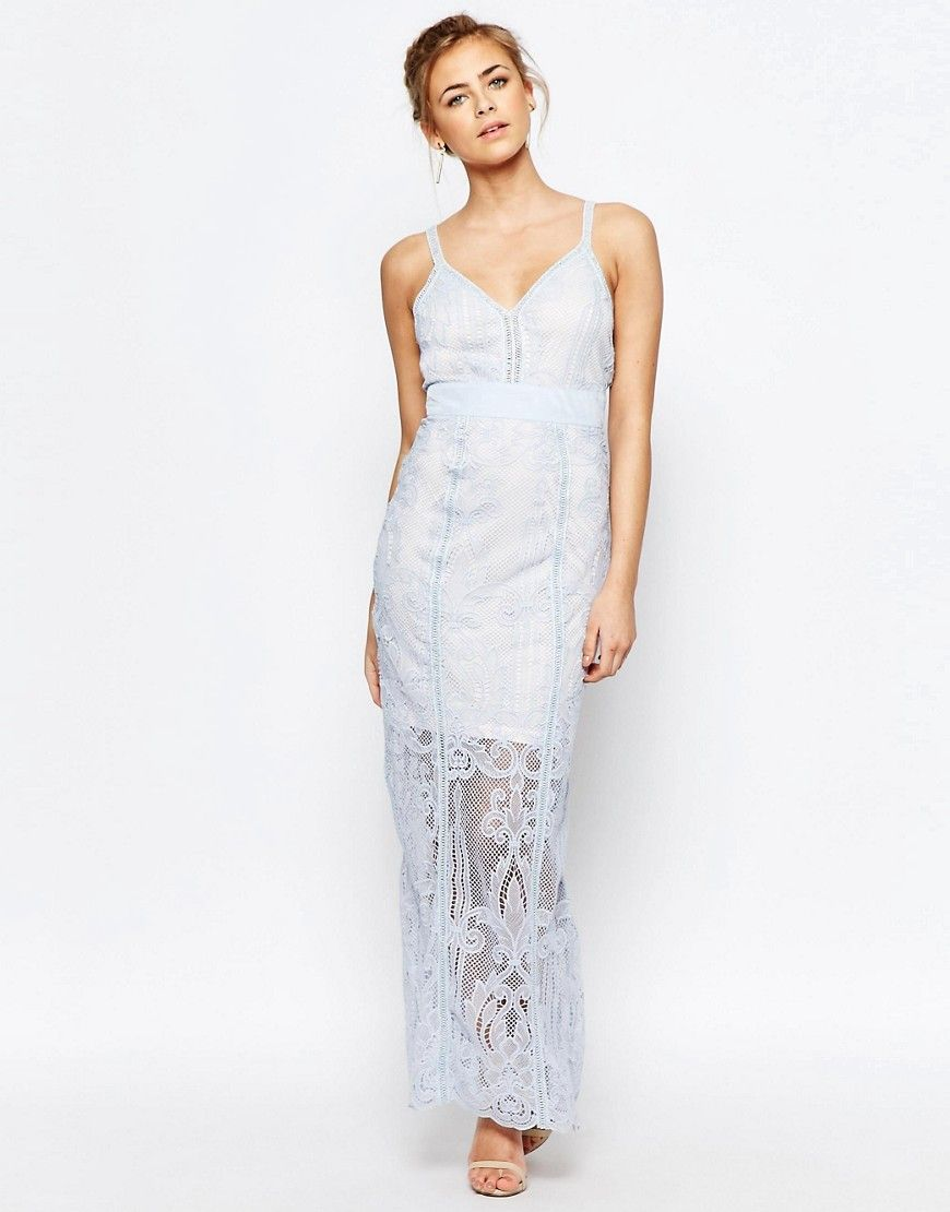 Image of boohoo boutique lace panelled maxi dress bridesmaid