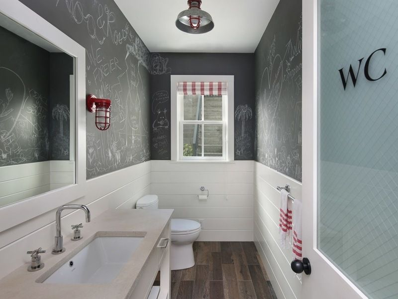 Love The Chalkboard Walls With Vintage Light And Period Replica Door Farmhouse Powder Room By Simpso Painting Bathroom Organic Interiors Farmhouse Powder Room