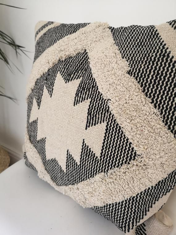 Aztec Pattern Cushion, Geometric Pillow Cover, Diamond Grey and White Cushion with Fringing, Unfille