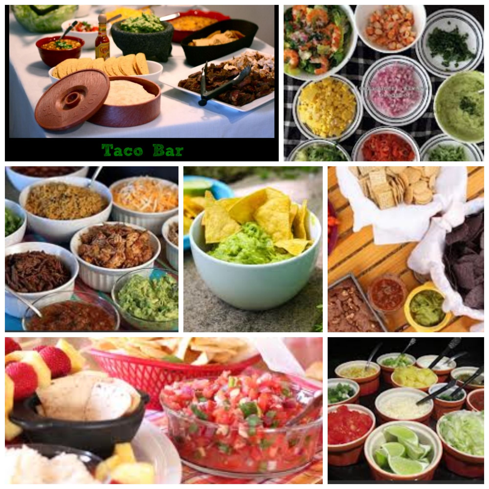 Taco bar ideas to feed groups of 10 christmas for Food bar party ideas