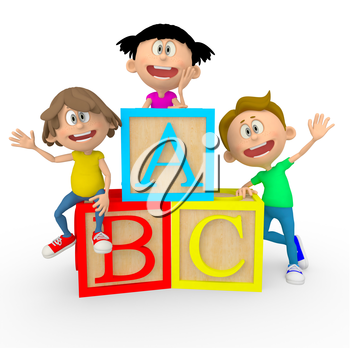 Iclipart 3d Clip Art Illustration Of Kids With Abc Cubes Looking Happy Clipart Illustration Education 3d Education Clipart Clip Art Illustration Art