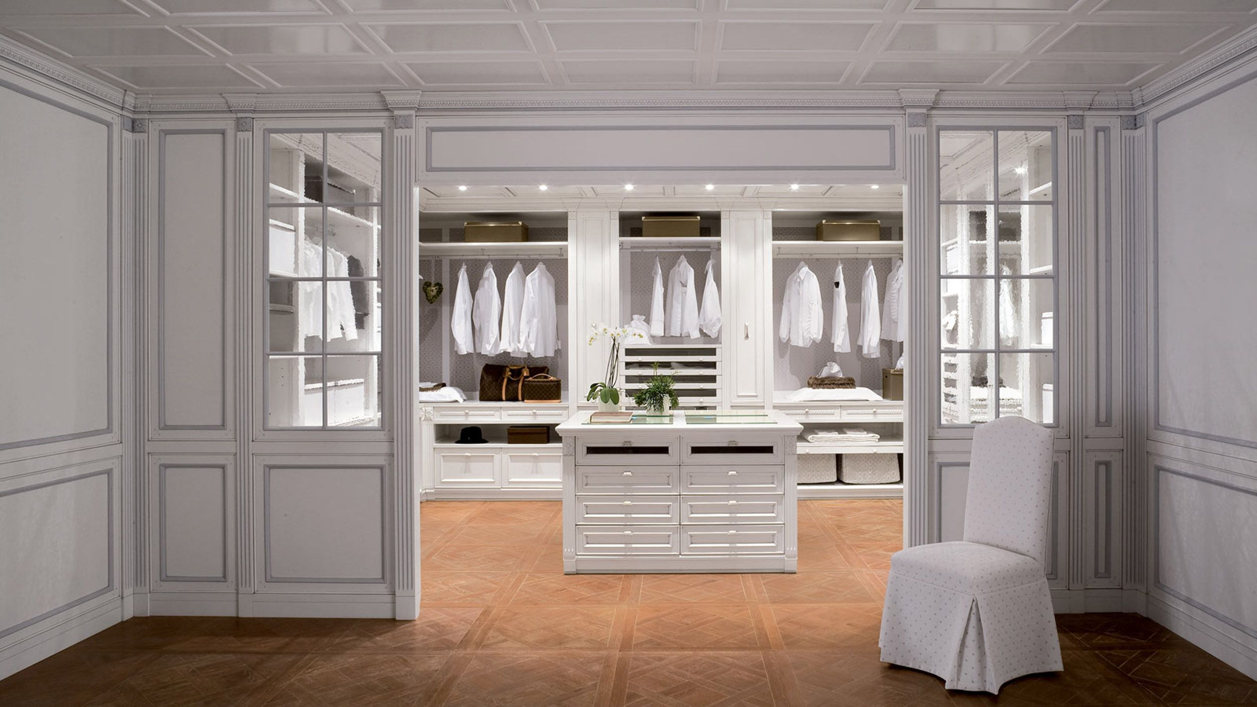 Bedroom Minimalist White Walk In Closet Design With Wooden