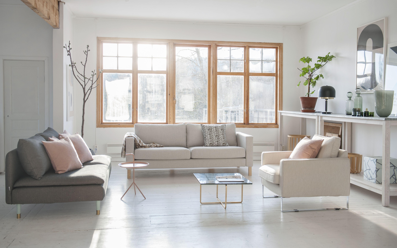 Lovely light Söderhamn 3 seater sofa cove in Jet Black Sand Beige