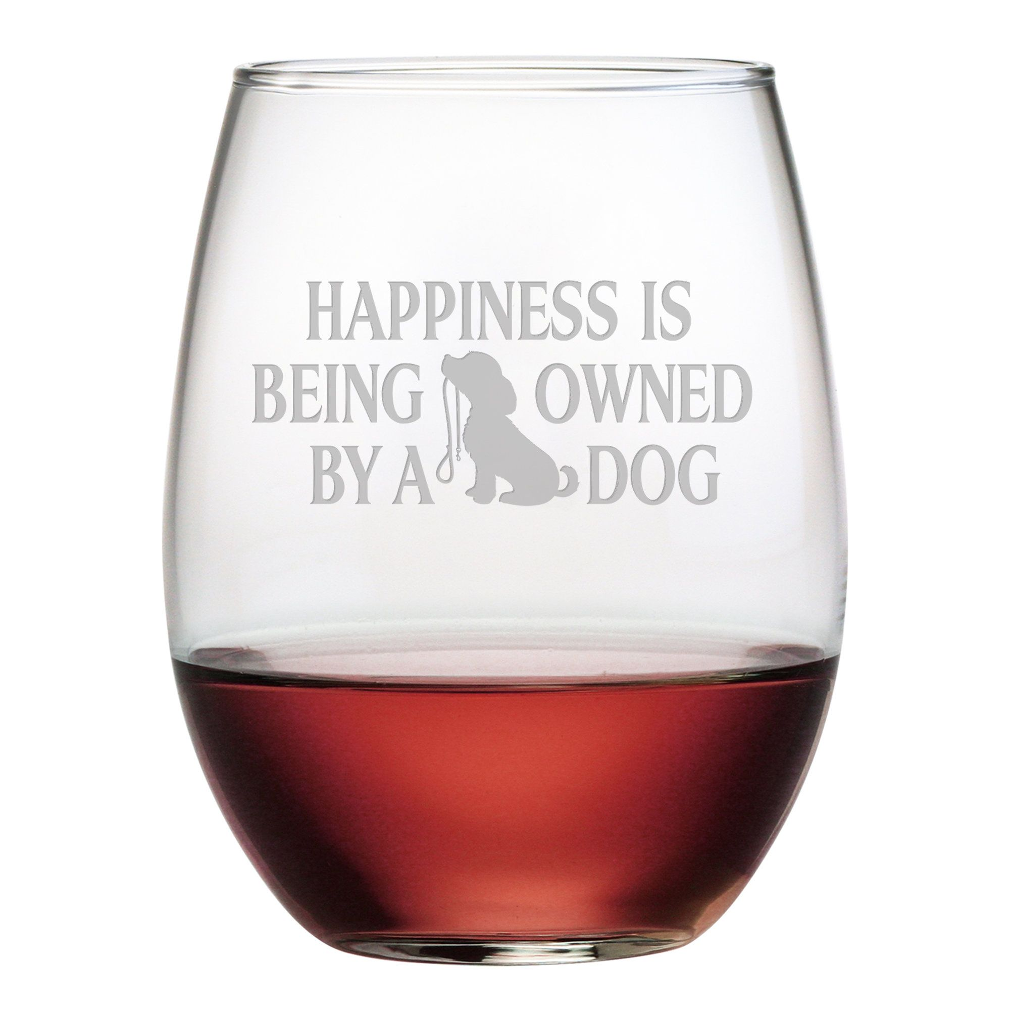 Owned By A Dog 21 Oz Stemless Wine Glass Cute Wine Glasses Stemless Wine Glass Wine Glass Set