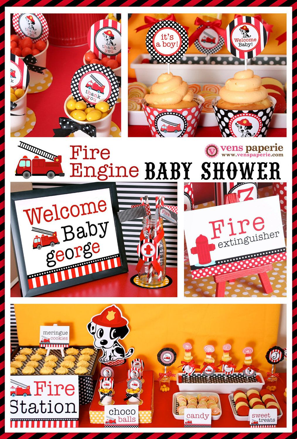 Attractive Fireman Theme Baby Shower | Dalmatian Firefighter Baby Shower Package  Personalized MINI Collection .