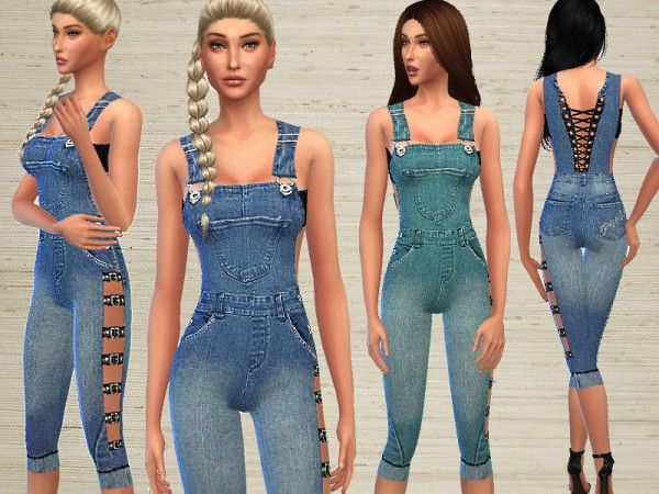 0188af58109 The Sims Resource  Denim Jumpsuit by Puresim • Sims 4 Downloads ...