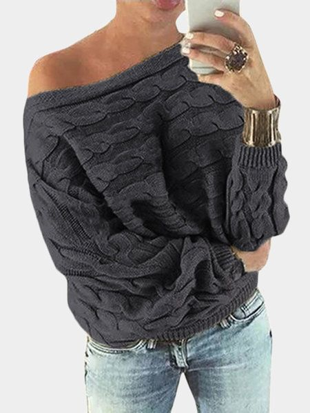 8997a6bcc8a Dark Grey Off Shoulder Bat-wing Sleeves Sweater