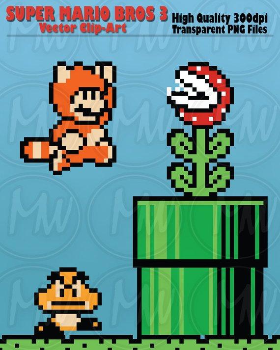 Super Mario Bros 3 Clipart Mario Pixels 8 Bit Vector Etsy Super Mario Bros Super Mario Mario Bros
