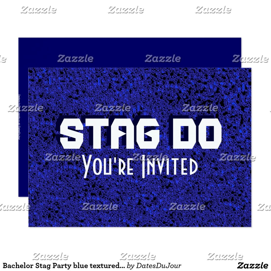Bachelor Stag Party blue textured invite – Stag Party Invites