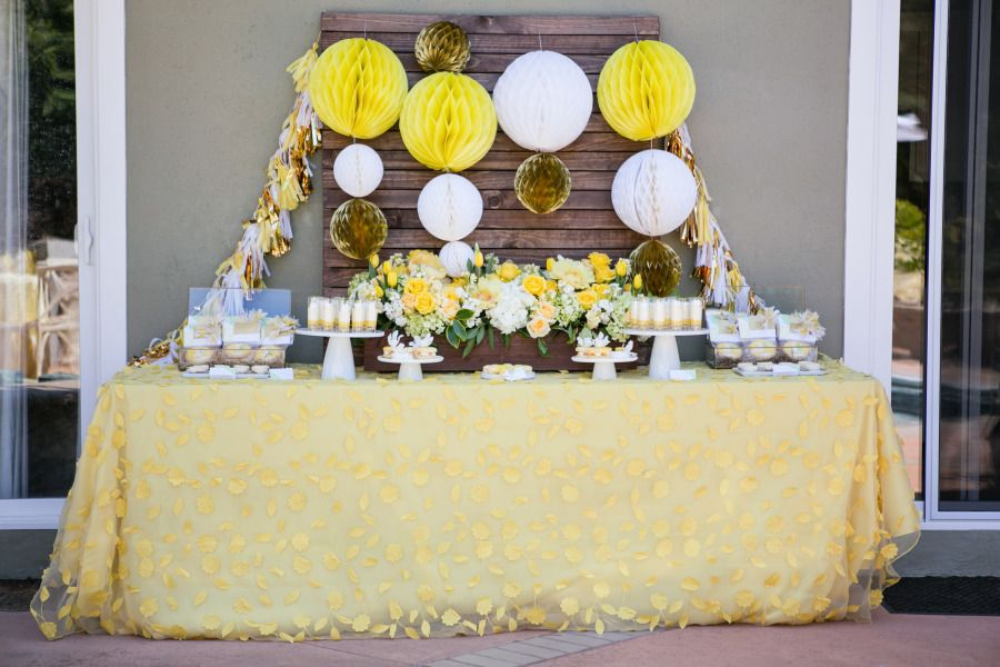 #dessert_tablescape La Tavola Fine Linen Rental: Emma Lemongrass over Dupionique Iridescence Maize