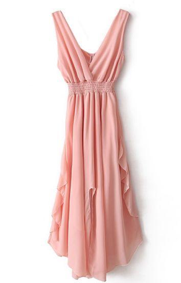 Pink V Neck Bandeau Ruffles Chiffon Dress | Hübsche ...