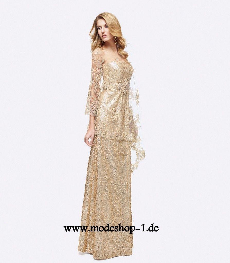 Designer Langarm Abendkleid in Gold (mit Bildern ...