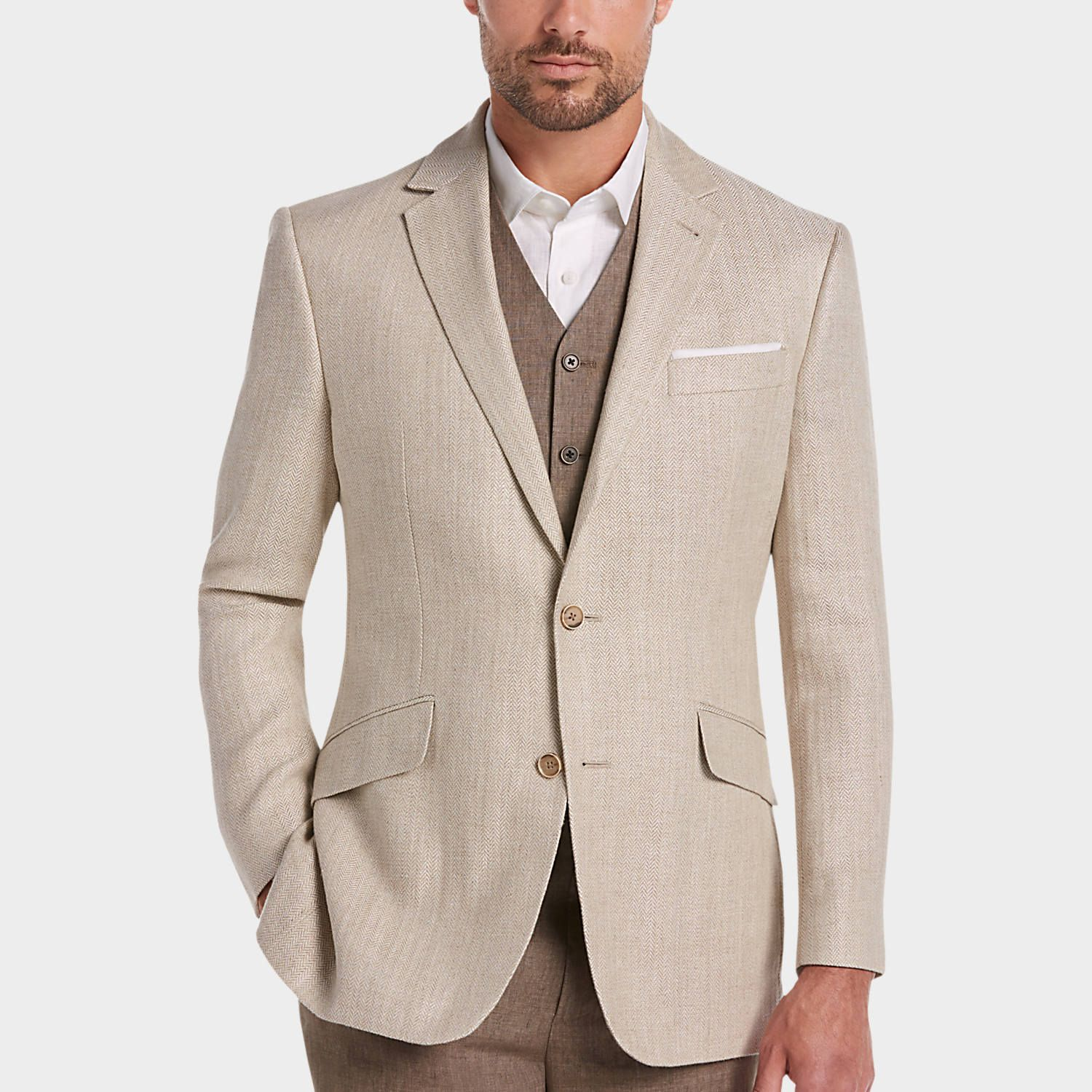 Buy a Joseph Abboud Tan Herringbone Modern Fit Linen Sport Coat ...