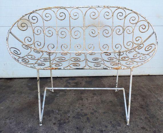 Outstanding Unusual Vintage Scrolled Iron Garden Loveseat Bench Andrewgaddart Wooden Chair Designs For Living Room Andrewgaddartcom