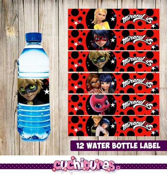 12 Miraculous Lady Bug Water Bottle Label Instant Download