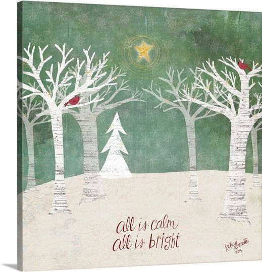 Christmas Trees Painting Print On Wrapped Canvas