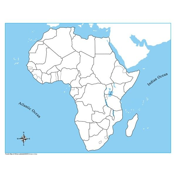 Africa Map Unlabeled Unlabeled Africa Control Map | Montessori materials geography, Map