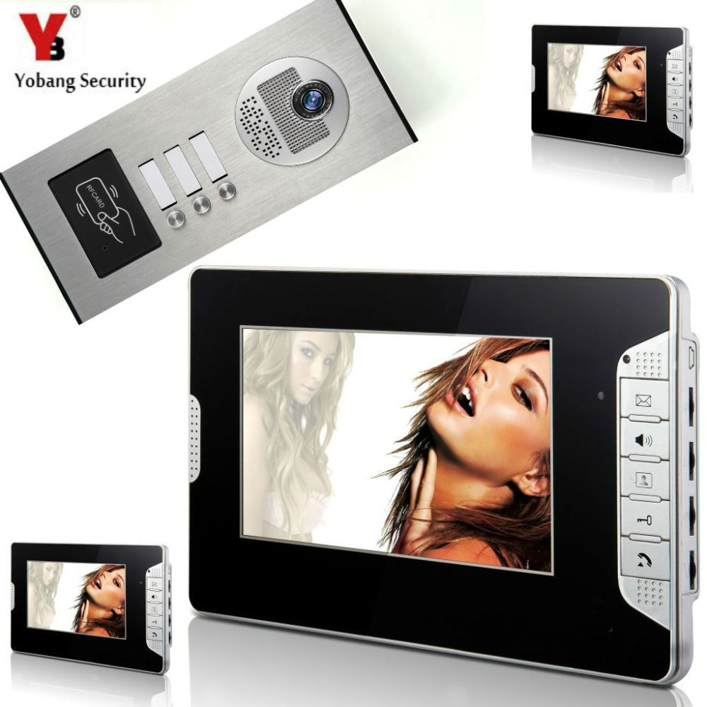 "YobangSecurity 3 Units Apartment 7""Inch Wired Video Door"