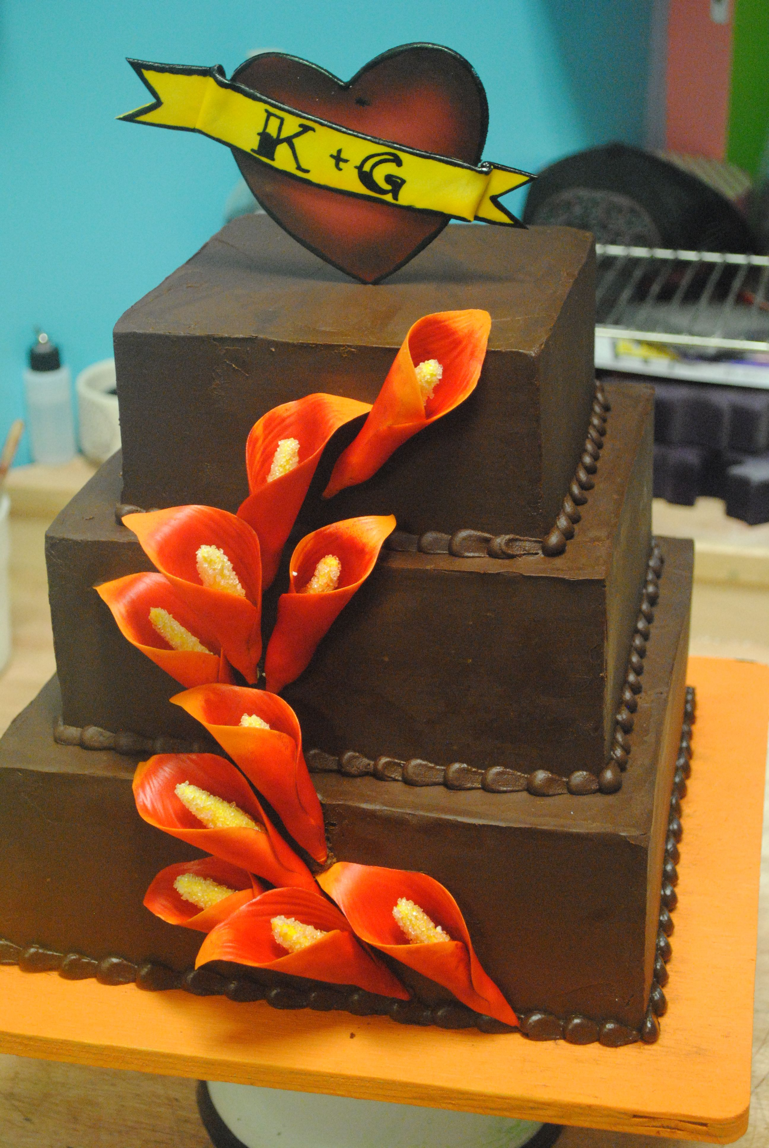 Wedding cake chocolate tattoo heart red calalily cakes galore