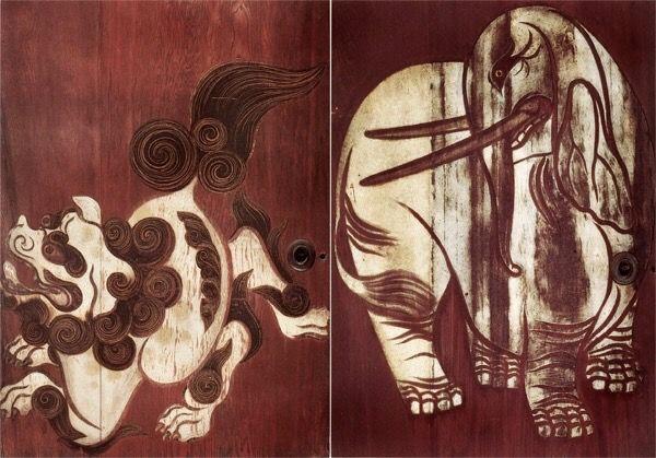 Cedar Doors (fusuma) with White Elephant and Chinese Lion (detail) By Tawaraya Sotatsu. Edo period 17th century. Important Cultural Property. & Cedar Doors (fusuma) with White Elephant and Chinese Lion (detail ...