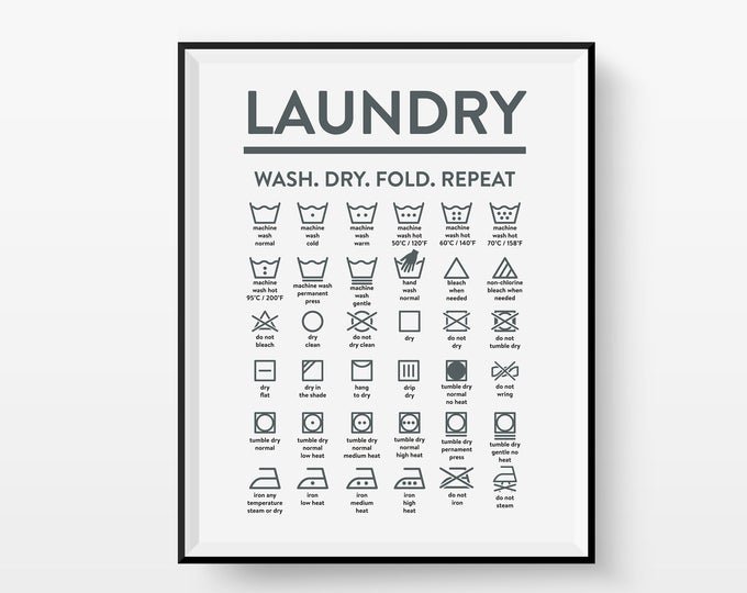 Laundry Care Guide Laundry Symbols Chart Calligraphy Art Housewarming Gift Black and White Illustration Print Mom Gift Laundry Roomart