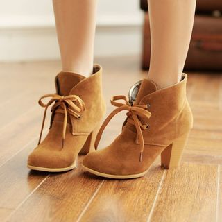 Buy YOUIN Lace-Up Ankle Boots at YesStyle.com! Quality products at remarkable prices. FREE WORLDWIDE SHIPPING on orders over CA$45.