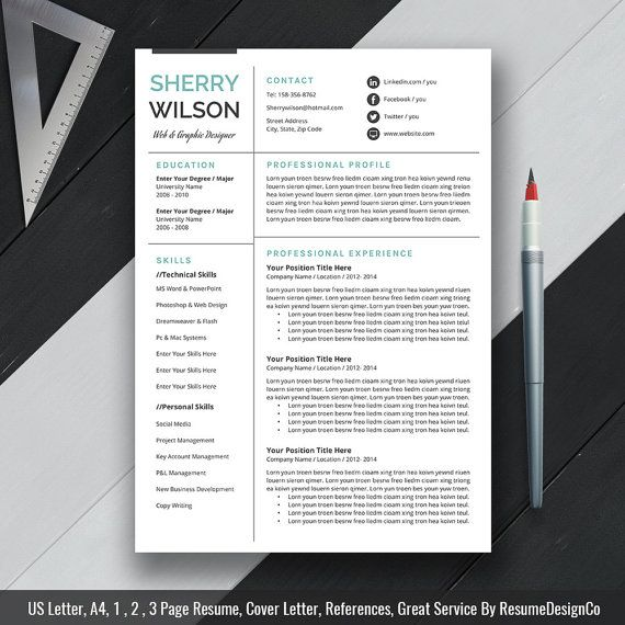 professional resume template cv template cover letter us letter a4 word - Lebenslauf Word Download