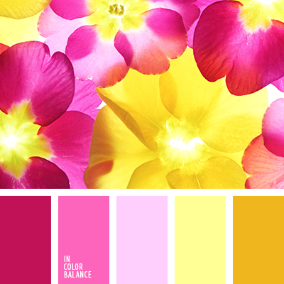 Yellow Shades pale pink, mustard, crimson, shades of yellow, shades of pink