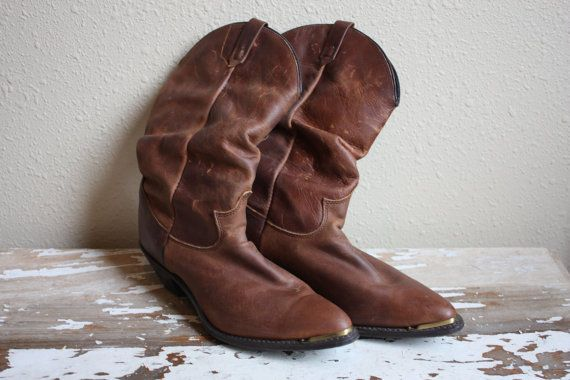 Women's Rustic Brown Leather Western Cowboy Boots by pursuingandie, $42.50