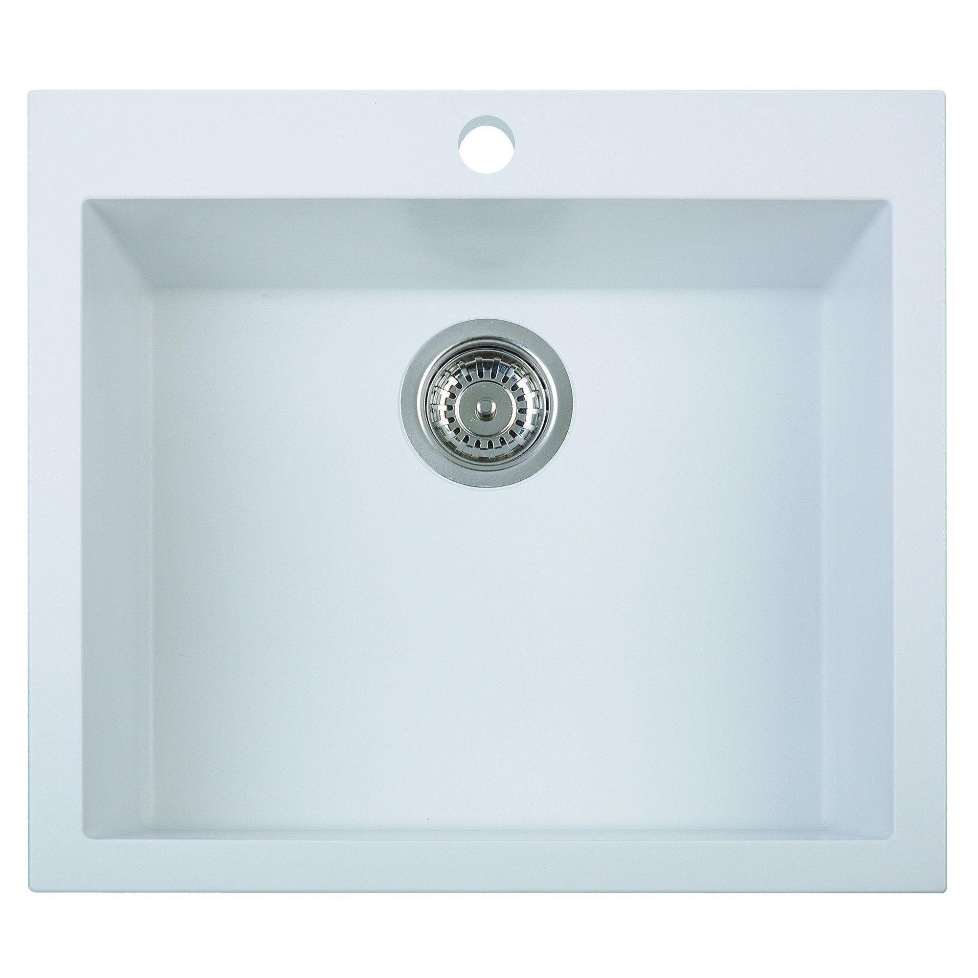 alfi brand ab2420di w white 24 drop in single bowl granite